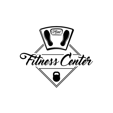 Kettlebell, The scales, weight scale. Fitness center logo label emblem. Vector illustration Illustration