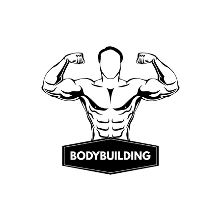 Bodybuilding label, Sportsman. Fitness logo emblem. Muscled man Vector illustration