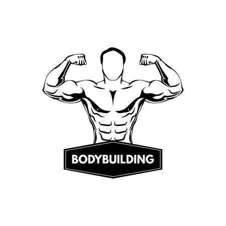 Bodybuilding label, Sportsman. Fitness logo emblem. Muscled man Vector illustration