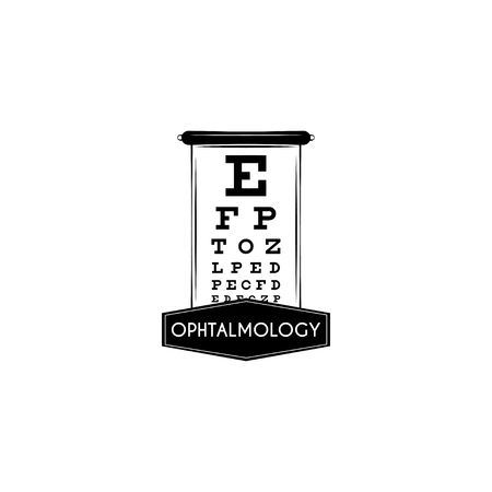 Optical vision test. Test table with letters for eye. Eyesight test background. Vector. Ophthalmology text.