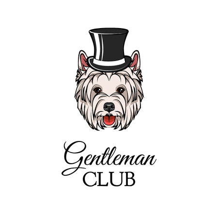 West Highland White Terrier in top hat. Dog Gentleman. Vector illustration. Gentleman club inscription. Illustration
