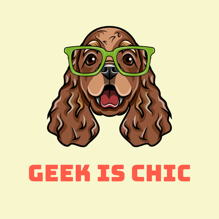 Dog geek. English cocker spaniel in smart glasses. Spaniel geek. Vector illustration isolated on white background. Geek is chic inscription.