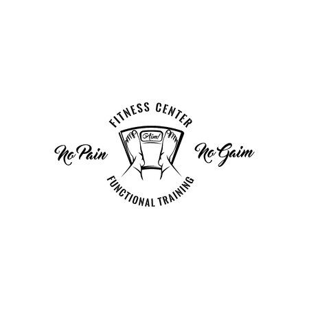 Feet on weighing scales. Fitness center logo label. Vector illustration. No pain No gain inscription. Illustration