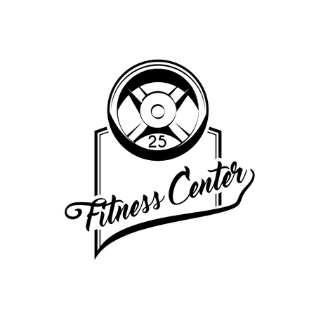 Weight and rod. Weightlifting. Items for bodybuilding exercises. Vector icon, illustration for sports club and fitness center. Illustration