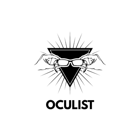 Oculist logo.Glasses icon in Triangle with beams. Vector illustration. Oculist inscription.