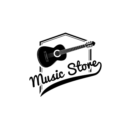 Guitar, music store vector logo, emblem, icon, sign. Musical instrument. Illustration design element of guitar