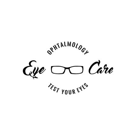 Eyeglasses glasses icon. Eye care inscription. Ophthalmology badge. Vector illustration