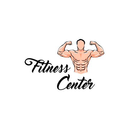 Fitness center label logo. Bodybuilder Fitness Model, Man with muscles. Vector illustration.  イラスト・ベクター素材