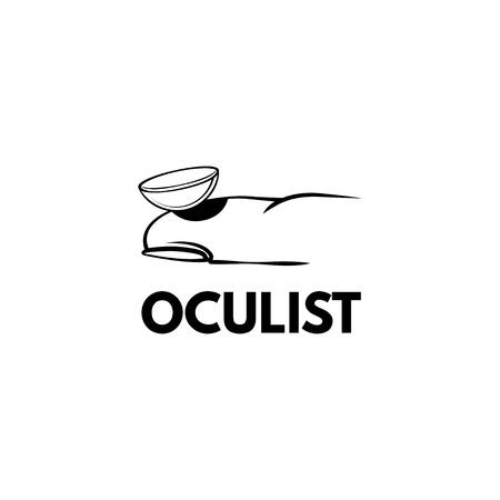 Contact lens icon. Lens on finger. Oculist inscription. Vector illustration
