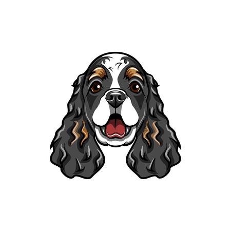 コッカースパニエル犬の品種。犬の銃口、顔頭ベクトルイラスト
