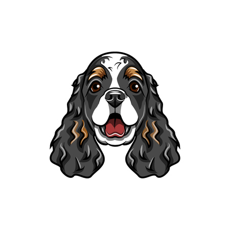 Cocker Spaniel Dog breed. Dog muzzle, face head Vector illustration