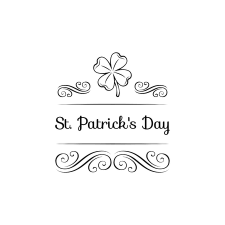 Lucky four leaf Irish clover for St. Patrick s Day with decorations on white background. Ilustração