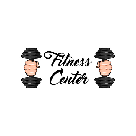 Dumbbells in fists with Fitness Center text on white background.