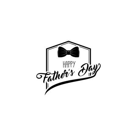 흰색 배경에 나비 넥타이 요소와 해피 아버지의 날 인사말 카드. 스톡 콘텐츠 - 98172714