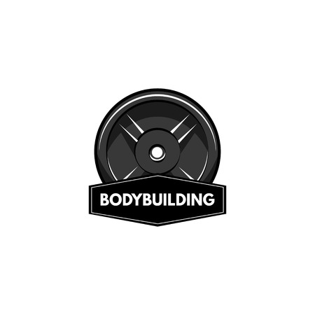 Disc barbell logo with bodybuilding inscription. Stock Vector - 98172727