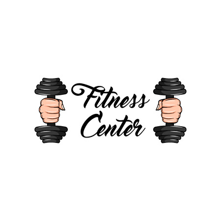 Dumbbell. Fitness center icon label.