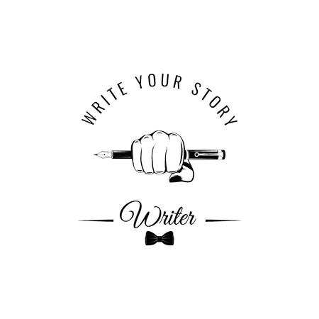 Writer symbol, an ink pen in fist. Illustration