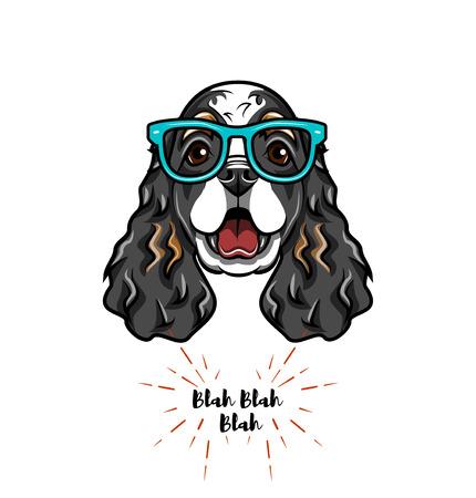 English Cocker spaniel in smart glasses. Dog geek. Vector illustration. 일러스트