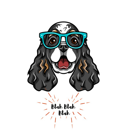 English Cocker spaniel in smart glasses. Dog geek. Vector illustration. Çizim