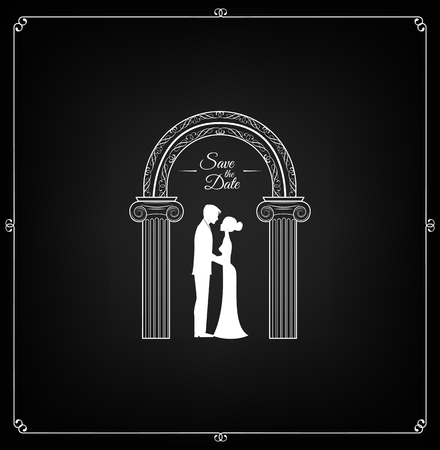 Bride and groom in classical dress. Wedding arch. Save the date, invitation. Silhouettes of the bride and groom. Vector.