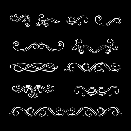 Swirls, curls, flourish filigree elements set. Dividers. Vector illustration. Calligraphy design, postcard, menu wedding invitation romantic style Illustration