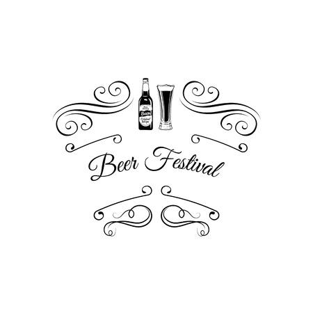 Beer Festival icon. Beer Bottle And Glass. Alcohol Drink Vintage vector Elements. Illustration