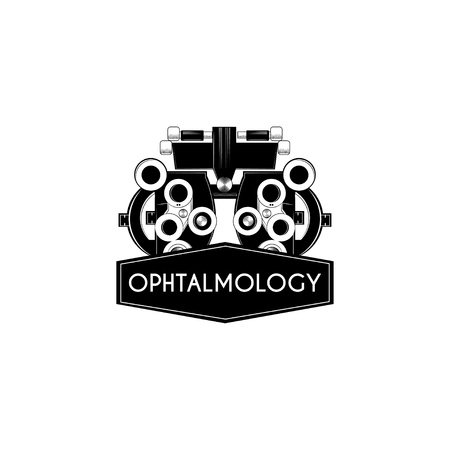 Optical medical device with Ophthalmology in black ribbon vector illustration. Stock Illustratie