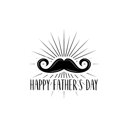 Mustache with Happy fathers day lettering on white background.