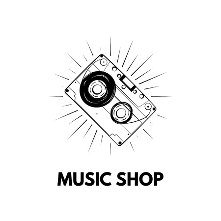 Cassette icon, Tape. Music shop logo label badge. Vector illustration