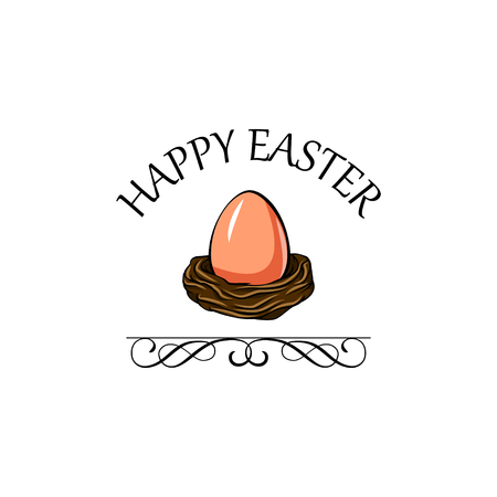 Nest with Easter egg with Happy Easter inscription and ornate frame. Illustration