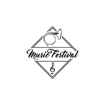 French Musical Horn and G clef with Music Festival inscription vector illustration.