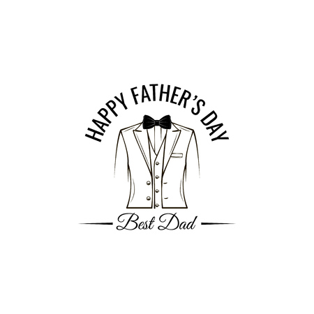 Mens suit. Happy fathers day lettering. Bow tie. Best dad text. Vector illustration.