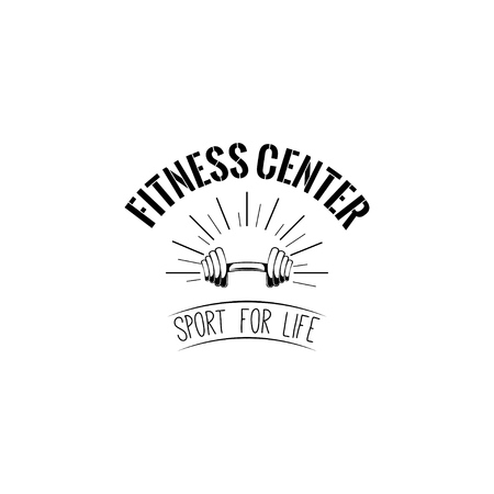 Dumbbell Fitness center icon label emblem.