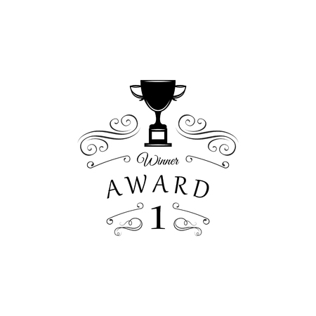 Winner cup. First place badge. Swirls, decorations, filigree design elements. Vector illustratiom. Ornate frames. Winner award Trophy Reward