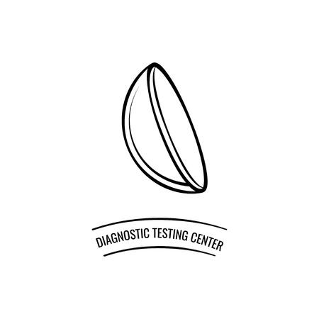 Contact lens. Optics logo label. Diagnostic testing center. Vector illustration Vectores