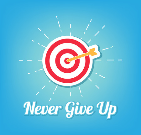 Goal. Darts target aim icon. Never give up inscription. Vector illustration.
