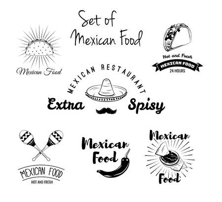Burito, nachos, taco, maracas, sombrero, mustache pepper Mexican food set Vector Mexican cuisine Traditional mexican dish 스톡 콘텐츠 - 98208137