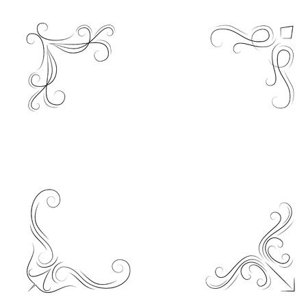 渦巻き、フィリグリーコーナー。ヴィンテージフレームコーナーセット。装飾。ベクトル図  イラスト・ベクター素材