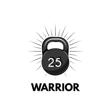 Kettlebell, Fitness Logo. Warrior text. Sport icon Dumbbell Vector illustration Illustration