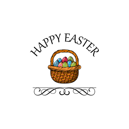 Easter basket. Painted eggs. Easter greeting card. Colorful Easter eggs. Swirls, flourish ornate border. Vector illustration Stock fotó - 98212119