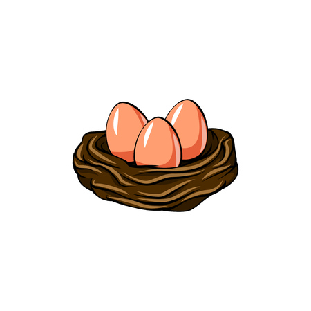 Easter Eggs. Easter Nest. Greeting card design. Bird nest. Vector illustration