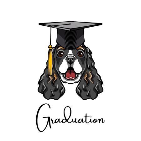 Spaniel Graduate. Graduation cap hat. Dog student. Vector illustration Illustration