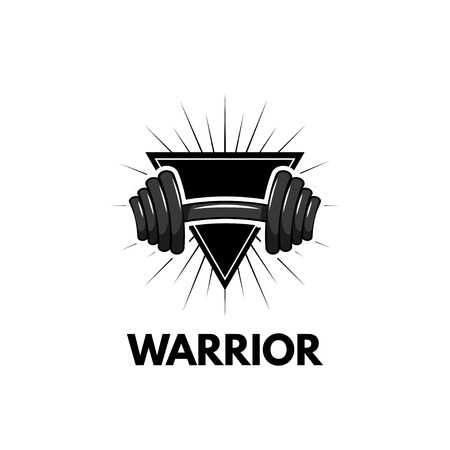 Dumbbell. Triangle. Sport badge. Fitness center logo. Warrior text. Vector illustration Train logo