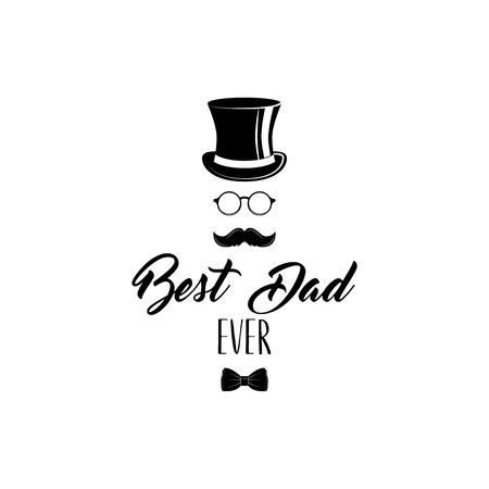 父の日。トップハット、ボウネクタイ、メガネ、口ひげ。最高のお父さんは今までテキスト。ベクトルグリーティングカードのデザイン