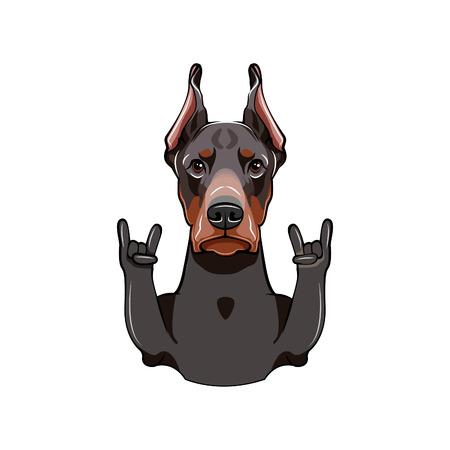 Doberman. Horns. Rock gesture. Dog with gesture Vector illustration