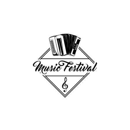 Bayan, accordion. Music festival shop store logo label. Musical instrument. Vector illustration Çizim