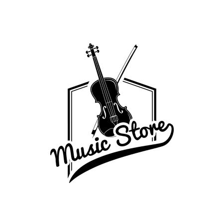 Violin, Bow. Music store logo label emble. Musical instrument. Vector illustration