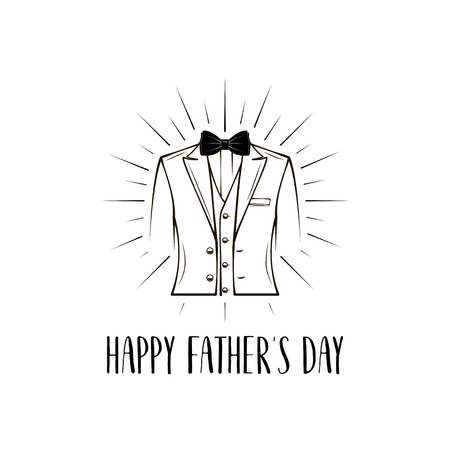 Mans suit. Bow tie. Fathers day greeting card. Fathers day holiday. Vector illustration. Stock Illustratie