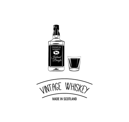 Whiskey bottle shot. Scotch. Alcoholic beverage. Alcohol drink. Bar Pub design. Vector illustration. Vintage Whiskey inscription 일러스트
