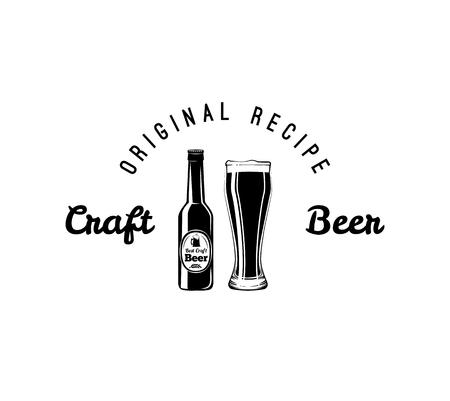 Craft beer bottle glass. Alcoholic beverage. Alcohol drink. Bar pub design. Vector illustration. Original recipe inscription. Illustration
